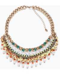 Zara Multicoloured Chain And Bead Necklace - Lyst
