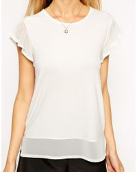 Asos Sheer And Solid Ruffle Top - Lyst