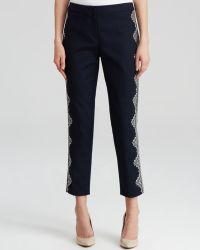 Adrianna Papell - Embroidered Slim Trousers - Lyst