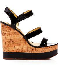 Lauren by Ralph Lauren Platform Wedge Sandals - Teressa Patent - Lyst