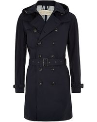 Burberry Brit Hooded Cotton Trench Coat - Lyst