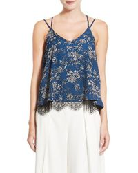 Chelsea28 Nordstrom - Floral Print Lace Hem Camisole - Lyst