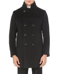 Armani Doublebreasted Wool and Cashmereblend Coat Grey - Lyst