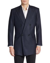 Giorgio Armani Mock Double Breasted Mini Check Wool Jacket - Lyst