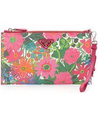 Prada - Floral-Print Saffiano Wristlet - Lyst