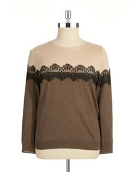 Vince Camuto Lace Trimmed Colorblock Sweater - Lyst