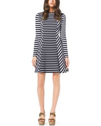 Michael Kors Striped Fit-And-Flare Dress, Petite - Lyst