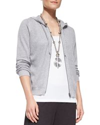 Eileen Fisher Mesh Hooded Zip Cardigan - Lyst
