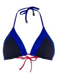 Paul Smith Blue Colour Block Triangle Bikini Top - Lyst