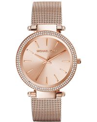 Michael Kors Ladies Darci Rose Gold Tone Glitz Watch with Mesh Strap - Lyst