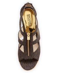 MICHAEL Michael Kors Damita Logo Zipper Wedge Sandal - Lyst