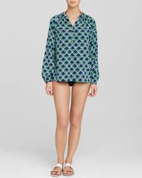 Macbeth Collection - Navy Swim Cover Up Blouse - Lyst