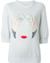 Stella McCartney Embroidered Silk and Cotton Sweatshirt - Lyst