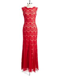 Betsy & Adam Lace Overlay Mermaid Gown - Lyst