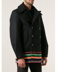 Raf Simons Striped Caban Coat - Lyst
