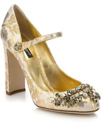 Dolce & Gabbana | Embellished Brocade Mary Jane Pumps | Lyst