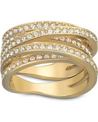 Swarovski Spiral Crystal And Gold-Tone Ring Size 6 - Lyst