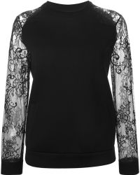 Ermanno Scervino Floral Lace Sleeve Sweatshirt - Lyst