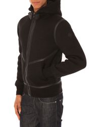 Schott Nyc Leather Detail Hooded Bomber Cardigan Black Leather - Lyst