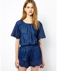 French Connection Short Dungaree - Lyst