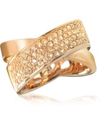 Michael Kors - Pave-crystal Twist Rose Golden Stainless Steel Women's Ring - Lyst