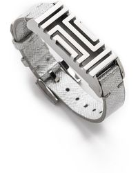 Tory Burch - For Fitbit Leather Bracelet - Tory Silver - Lyst