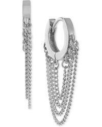 Vince Camuto - Silver-tone Chain-link Huggy Earrings - Lyst