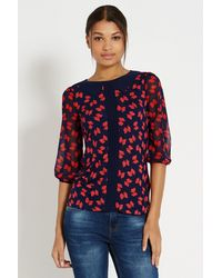 Oasis Bow Print Collar Top - Lyst