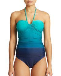 Lauren by Ralph Lauren Island Bandeau One Piece Swimsuit - Lyst