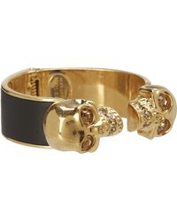 Alexander McQueen Two Skull Metal/Leather Bracelet - Lyst