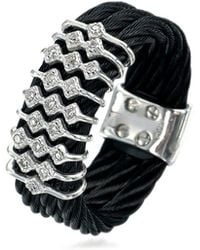 Charriol | Noir Stainless Steel Cable Ring W/ Diamonds | Lyst