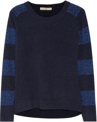 Halston Heritage Metallic-striped Wool-blend Sweater - Lyst