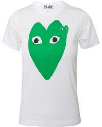 Comme Des Garçons Play Womens Green Heart Tshirt White - Lyst