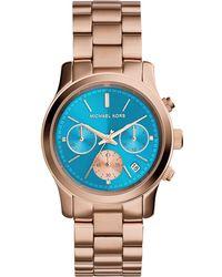 Michael Kors Women'S Chronograph Runway Rose Gold-Tone Stainless Steel Bracelet Watch 38Mm Mk6164 - Lyst