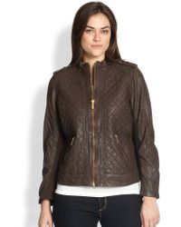 MICHAEL Michael Kors Quilted Leather Motorcycle Jacket - Lyst