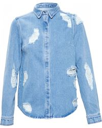House Of Holland Distressed Denim Shirt with Lace Embroidery - Lyst