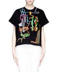 Peter Pilotto Rope Embroidery Jewel Appliqué Sweatshirt - Lyst