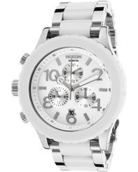 Nixon Mens 42-20 Chrono Silver-tone Steel and White Acetate Bracelet White Dial - Lyst