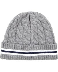 Moncler Cableknit Stripe Beanie - Lyst