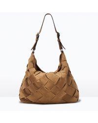 Zara Woven Suede Bucket Bag - Lyst