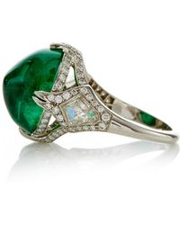 Gioia | Abstract Emerald Cabochon And Diamonds Ring | Lyst