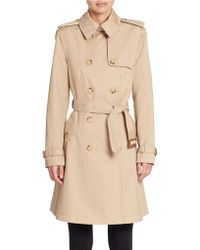 Lauren by Ralph Lauren Double Breasted A-Line Trench Coat - Lyst