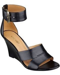 Nine West Checkmayt Leather Wedge Sandals - Lyst