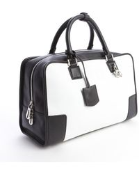 Loewe Black and White Leather Top Handle Bag - Lyst