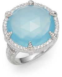 Judith Ripka | Eclipse Aqua Chalcedony, White Sapphire & Sterling Silver Ring | Lyst