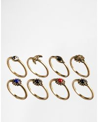 Asos 90S Mixed Stone Ring Multipack - Lyst