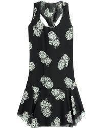 Anna Sui Gardenia Printed Silk Chiffon Dress black - Lyst