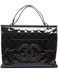 Chanel Preowned Black Patent Leather Quilted Cc Framed Top Large Shopping Tote Bag - Lyst