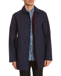 Lacoste Navy Trench Coat With Bordeaux Red Details - Lyst