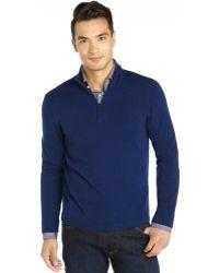 Elie Tahari Indigo Cashmere Knit Half Zip Neck Marcus Sweater - Lyst